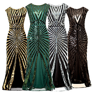 cheap Historical & Vintage Costumes-The Great Gatsby Vintage 1920s Flapper Dress Dress Party Costume Women's Sequin Costume Black / Golden / Silver Vintage Cosplay Party Sleeveless