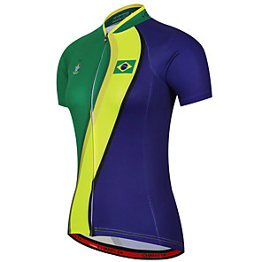 cheap Cycling Jerseys-21Grams Women's Short Sleeve Cycling Jersey Blue+Green Brazil National Flag Bike Jersey Top Mountain Bike MTB Road Bike Cycling UV Resistant Breathable Quick Dry Sports Clothing Apparel / Stretchy