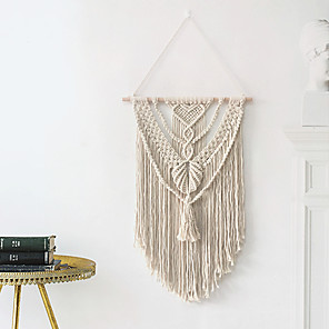 cheap Dreamcatcher-Hand Woven Macrame Wall Tapestry Bohemian Boho Art Decor Blanket Curtain Hanging Home Bedroom Living Room Decoration Nordic Handmade Tassel Cotton 43*80 cm