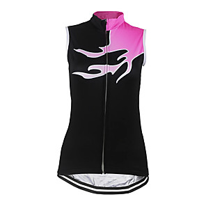 cheap Cycling Jerseys-21Grams Women's Sleeveless Cycling Jersey Cycling Vest Spandex Polyester Pink Bike Jersey Top Mountain Bike MTB Road Bike Cycling UV Resistant Breathable Quick Dry Sports Clothing Apparel / Stretchy