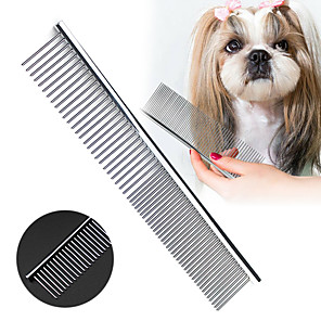cheap Dog Grooming Supplies-Pet Comb Stainless Steel Pets Dog Cat Grooming Double Row Teeth Combs Hair Fur Removal Brush Comb Fur Rake