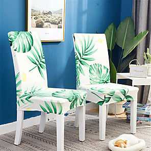 cheap Chair Cover-2 Pack Green Leaves Print Super Fit Stretch Chair Cover Stretch Removable Washable Dining Room Chair Protector Slipcovers Home Decor Dining Room Seat Cover