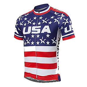cheap Cycling Jerseys-21Grams Men's Short Sleeve Cycling Jersey Spandex Polyester Blue / White American / USA Stars National Flag Bike Jersey Top Mountain Bike MTB Road Bike Cycling UV Resistant Breathable Quick Dry Sports