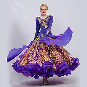 cheap Ballroom Dancewear-Ballroom Dance Dress Embroidery Cascading Ruffles Paillette Women's Performance Long Sleeve Ice Silk
