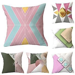 cheap Pillow Covers-6 pcs Polyester Pillow Cover, Geometric Geometic Simple Classic Square Traditional Classic