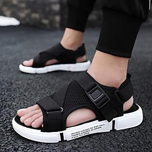 cheap Women's Sandals-Men's Comfort Shoes Mesh Spring & Summer Classic / British Sandals Walking Shoes Breathable Black / White