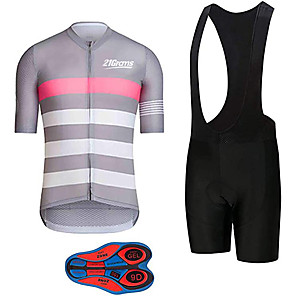 cheap Cycling Jersey & Shorts / Pants Sets-21Grams Men's Short Sleeve Cycling Jersey with Bib Shorts Polyester Spandex Pink / Black Stripes Bike Clothing Suit UV Resistant Breathable 3D Pad Quick Dry Sweat-wicking Sports Solid Color Mountain