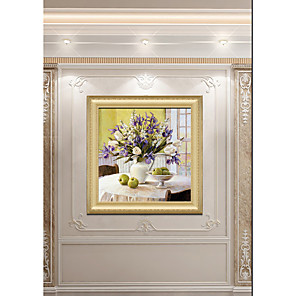 cheap Framed Arts-Art Print Luxury Royal Palace Wall Decor Art Antique Vintage Golden Framed Floral Oil Painting