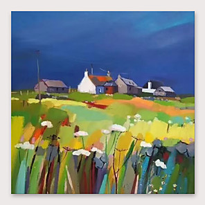 cheap Abstract Paintings-IARTS®Hand Painted Beautiful village Oil Painting   with Stretched Frame For Home Decoration