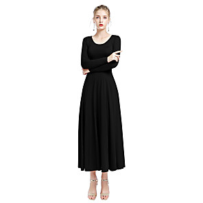 cheap Ballroom Dancewear-Ballroom Dance Dress Wave-like Women's Daily Wear Long Sleeve Natural Milk Fiber