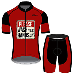cheap Cycling Jerseys-21Grams Men's Short Sleeve Cycling Jersey with Shorts Black / Red Patchwork Bike Clothing Suit UV Resistant Breathable 3D Pad Quick Dry Sweat-wicking Sports Solid Color Mountain Bike MTB Road Bike