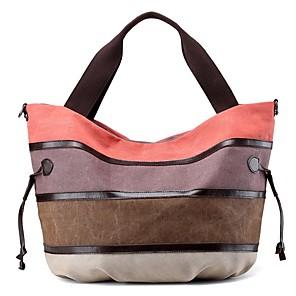cheap Handbag & Totes-Women's Zipper Canvas Top Handle Bag Color Block Purple / Orange