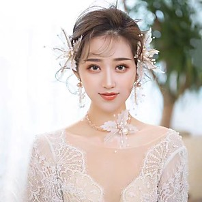 cheap Earrings-Women's Bridal Jewelry Sets Leaf Fashion Imitation Pearl Earrings Jewelry Champagne For Wedding Party 1 set