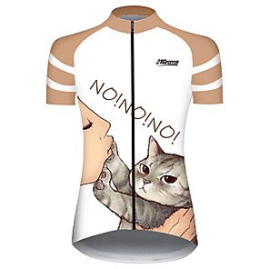 cheap Cycling Jerseys-21Grams Women's Short Sleeve Cycling Jersey Orange+White Cat Animal Bike Jersey Top Mountain Bike MTB Road Bike Cycling UV Resistant Breathable Quick Dry Sports Clothing Apparel / Stretchy / Race Fit