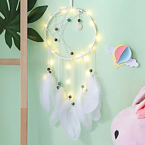 cheap Smart Lights-Dream Catcher Moon Mini Handmade Craft Home Hanging Room Decoration Car Ornament Girls Room Decor Dreamcatcher