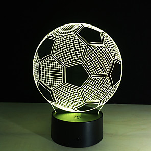 cheap 3D Night Lights-Accesorio De Iluminacin 3D Lmpara LED De Ftbol Para Mesa De Noche Control Remoto RGB 7 Cambio De Color Luces De Noche Interiores Lmpara De Ilusin