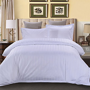 cheap Solid Duvet Covers-Duvet Cover Sets 4 Piece Linen / Cotton Solid Colored White Printed Simple