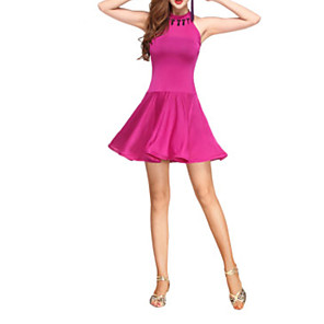 cheap Latin Dancewear-Latin Dance Dress Beading Women's Performance Polyester