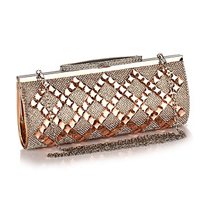 cheap Clutches & Evening Bags-Women's Crystals / Chain Acrylic / Polyester Evening Bag Geometric Pattern Black / Champagne / Silver
