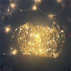 cheap LED String Lights-1PCS Battery Operated Pearl LED Copper Wire String Lights Pearlized Fairy Lights for Wedding Home Party Christmas Decorations 5M 50Leds