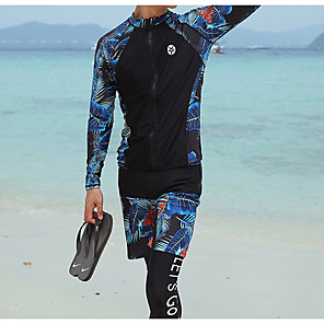 cheap Wetsuits, Diving Suits & Rash Guard Shirts-Men's Rash Guard Dive Skin Suit Diving Suit UV Sun Protection Anatomic Design Full Body Front Zip 3-Piece - Diving Water Sports Painting Summer / Micro-elastic
