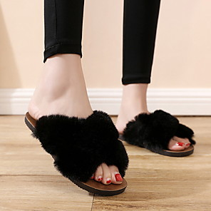 cheap Women's Sandals-Women's Slippers & Flip-Flops Fuzzy Slippers Summer Flat Heel Round Toe Daily PU White / Black / Khaki