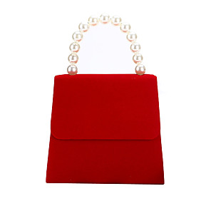 cheap Clutches & Evening Bags-Women's Pearls Polyester / Alloy Evening Bag Solid Color Red / Black