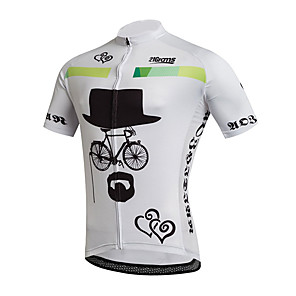cheap Cycling Jerseys-21Grams Men's Short Sleeve Cycling Jersey Black / White Heart Geometic Bike Jersey Top Mountain Bike MTB Road Bike Cycling UV Resistant Breathable Quick Dry Sports Clothing Apparel / Stretchy