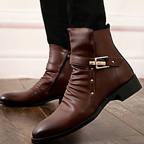 cheap Men's Boots-Men's PU Fall & Winter Casual Boots Breathable Booties / Ankle Boots Black / Brown