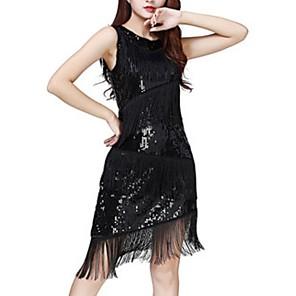 cheap Latin Dancewear-Latin Dance Dress Tassel Paillette Women's Performance Polyester