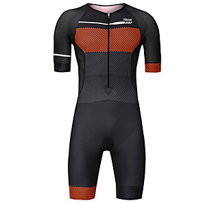 cheap Triathlon Clothing-21Grams Men's Short Sleeve Triathlon Tri Suit Black / Orange Stripes Patchwork Geometic Bike Clothing Suit UV Resistant Breathable 3D Pad Quick Dry Sweat-wicking Sports Stripes Mountain Bike MTB Road