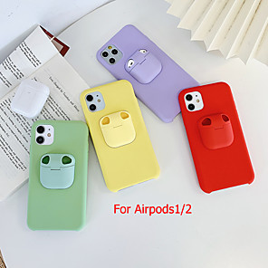 cheap iPhone Cases-Case for iPhone 11Pro Max Bluetooth Earphones Air pods 1/2 Generation Storage Case Mobile Phone Case XS Max Pure Color Liquid Silicone 6/7 / 8Plus Drop Protection Case