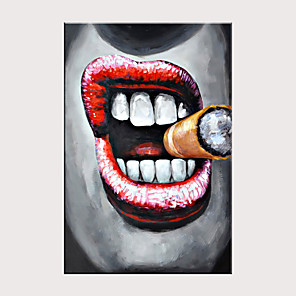 cheap Abstract Paintings-Hand Painted Canvas Abstract Oil Painting  Large Cigar Smoking Mouth Large Size Frameless Painting