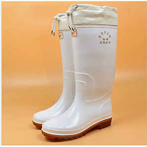 cheap Women's Boots-Women's Boots Flat Heel Round Toe PVC Mid-Calf Boots Winter White