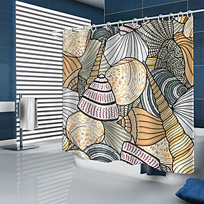 cheap Shower Curtains-Scallop Conch Digital Printing Shower Curtain