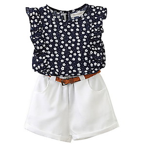 Недорогие Распродажа-Дети Девочки Классический Контрастных цветов Без рукавов Набор одежды Белый