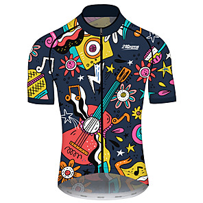 cheap Cycling Jerseys-21Grams Men's Women's Short Sleeve Cycling Jersey Spandex Polyester Black / Yellow Funny Bike Jersey Top Mountain Bike MTB Road Bike Cycling UV Resistant Breathable Quick Dry Sports Clothing Apparel