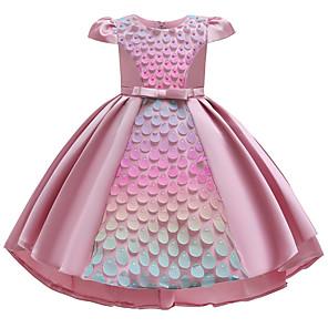 cheap Movie & TV Theme Costumes-Kids Girls' Active Sweet Patchwork Pear Cut Short Sleeve Asymmetrical Dress Blushing Pink
