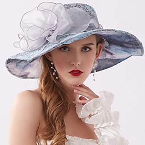 cheap Party Hats-Vintage Style Fashion Tulle / Lace Hats / Headwear with Bowknot / Lace / Printing 1 Piece Wedding / Outdoor Headpiece