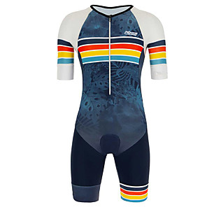 cheap Car DVD Players-21Grams Men's Short Sleeve Triathlon Tri Suit Blue / White Stripes Geometic Leaf Bike Clothing Suit UV Resistant Breathable 3D Pad Quick Dry Sweat-wicking Sports Solid Color Mountain Bike MTB Road