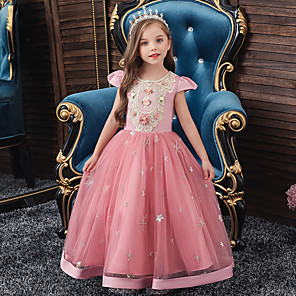 cheap Movie & TV Theme Costumes-A-Line Ankle Length Wedding / Party / Pageant Flower Girl Dresses - Tulle / Matte Satin / Poly&Cotton Blend Short Sleeve Jewel Neck with Pattern / Print / Solid