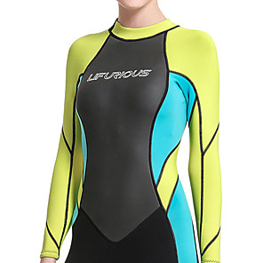 cheap Wetsuits, Diving Suits & Rash Guard Shirts-Women's Full Wetsuit 3mm SCR Neoprene Diving Suit Long Sleeve Back Zip Patchwork Autumn / Fall Spring Summer / Winter / High Elasticity