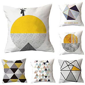cheap Throw Pillow Covers-Set of 6 Polyester Pillow Cover, Geometric Geometic Simple Classic Square Traditional Classic Throw Pillow