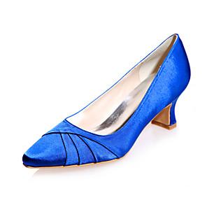 cheap Wedding Shoes-Women's Wedding Shoes Block Heel Square Toe Satin Minimalism Fall / Spring & Summer Black / White / Purple / Party & Evening