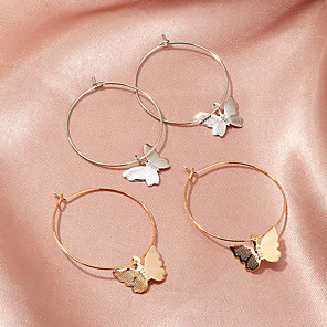 cheap Religious Jewelry-Women's Hoop Earrings Earrings Classic Fashion Trendy Korean Fashion Cute Elegant Earrings Jewelry Gold / Silver For Gift Date Vacation Birthday Festival 1 Pair