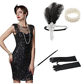 cheap Historical & Vintage Costumes-The Great Gatsby Charleston 1920s The Great Gatsby Costume Accessory Sets Masquerade Women's Costume Bead Bracelet Beaded Necklace Black Vintage Cosplay Party Halloween / 1 Bracelet / 1 Hair Jewelry