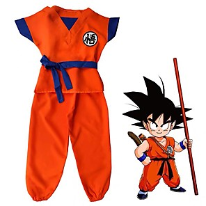 cheap Anime Costumes-Inspired by Dragon Ball Son Goku Anime Cosplay Costumes Japanese Cosplay Suits Letter Top Pants For Boys' Girls'