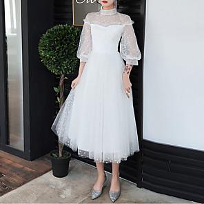 cheap Wedding Veils-A-Line White Retro Graduation Cocktail Party Dress High Neck Half Sleeve Tea Length Tulle with Pleats 2020 / Illusion Sleeve