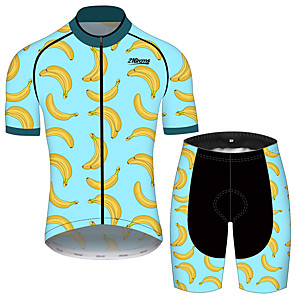 cheap Cycling Jersey & Shorts / Pants Sets-21Grams Men's Short Sleeve Cycling Jersey with Shorts Black / Blue Fruit Banana Bike Clothing Suit UV Resistant Breathable 3D Pad Quick Dry Sweat-wicking Sports Solid Color Mountain Bike MTB Road