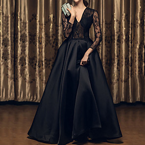 cheap Historical & Vintage Costumes-A-Line Wedding Dresses V Neck Floor Length Satin Long Sleeve Beach Black Illusion Sleeve with Lace Insert Embroidery 2020